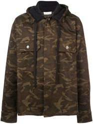 Faith Connexion Camouflage Print Hooded Jacket Green