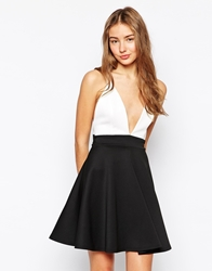 Club L Plunge Neck Skater Dress In Contrast Creamblack