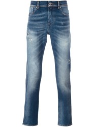 7 For All Mankind Distressed Slim Leg Jeans Blue