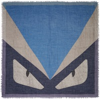 Fendi Blue And Grey Cashmere Monster Scarf