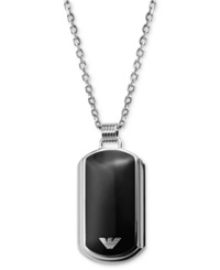 Emporio Armani Men's Necklace Silver Tone And Black Enamel Dog Tag Egs1726040