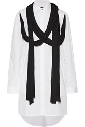 Maison Martin Margiela Mm6 Draped Jersey Trimmed Cotton Poplin Shirt Dress White