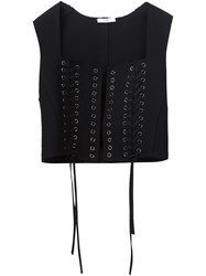 Tome Tie Fastening Cropped Waistcoat Black