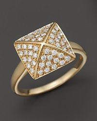Bloomingdale's Diamond Pave Pyramid Ring In 14K Yellow Gold 0.45 Ct. T.W. Yellow Gold White Diamonds