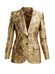 Dolce And Gabbana Single Breasted Floral Jacquard Blazer Gold