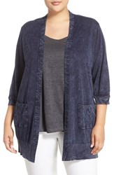 Plus Size Women's Foxcroft Crackle Print Button Back Long Cardigan