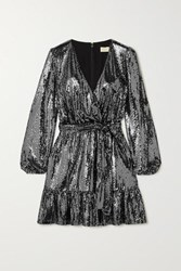 Michael Michael Kors Wrap Effect Sequined Stretch Jersey Dress Silver