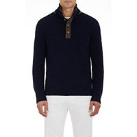 Fioroni Men's Suede Trimmed Cashmere Mock Turtleneck Sweater Navy