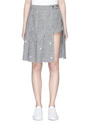 41b77f90c4 Sandy Liang 'Claire' Floral Embroidered Pleated Overlay Gingham Check Skort  Multi Colour