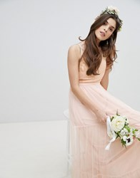 Little Mistress Bridesmaid Sequin Upper Maxi Dress With Tulle Tiered Skirt Light Pink