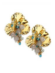 Miriam Haskell Swarovski Crystal Studded Earrings Gold