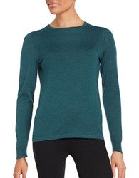 Lord And Taylor Crewneck Merino Wool Sweater Teal Heather