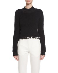 Jonathan Simkhai Fuzzy Tassel Trim Mock Neck Sweater Black