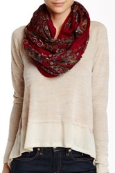 Natasha Accessories Paisley Loop Scarf Red