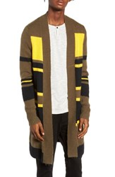 The Rail Long Cardigan Olive Yellow Variegated Stripe