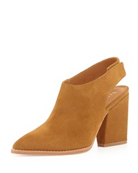 Bettye Muller Kat Suede Leather Slingback Bootie Whiskey