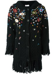 Red Valentino Floral Embroidery Raw Edge Cardi Coat Black
