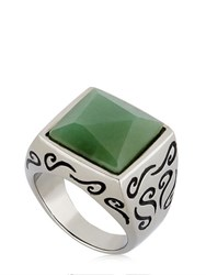 Marco Ta Moko Ara Engraved Ring With Aventurine