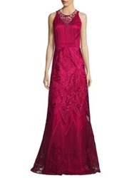 David Meister Embroidered A Line Gown Rose