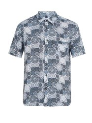 120 Lino Floral Print Short Sleeved Linen Shirt Blue Multi