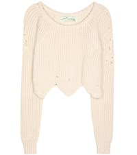 Off White Cotton Blend Sweater Beige