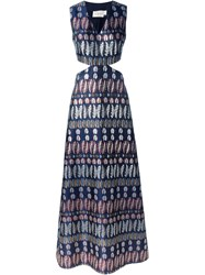 Tory Burch Satin Feather Print Cut Out Maxi Blue