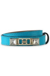 Proenza Schouler Textured Leather Silver And Gold Tone Wrap Bracelet Turquoise