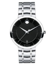 Movado Bold 1881 Automatic Stainless Steel Bracelet Watch Black Silver Black