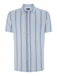 Howick Parker Seersucker Striped Short Sleeve Shirt Blue