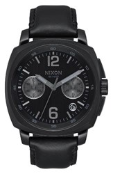 Nixon Men's Charger Chronograph Leather Strap Watch 42Mm Black
