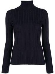 Aspesi Ribbed Turtleneck Sweater Blue