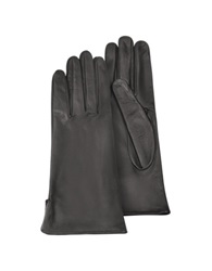 Forzieri Women's Black Calf Leather Gloves W Silk Lining