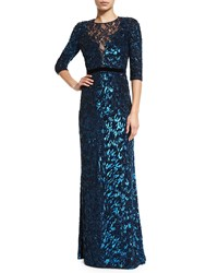 Jenny Packham 3 4 Sleeve Sequined Gown Petrol