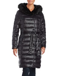 Ivanka Trump Faux Fur Trimmed Long Down Puffer Coat Black