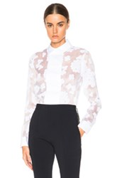 Carven Printed Top In White Floral