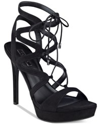 Guess Women's Aurela Strappy Lace Up Platform Dress Sandals Women's Shoes Black
