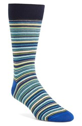Lorenzo Uomo Men's Thin Multi Stripe Socks Navy Multi