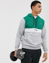 Lacoste Sport Zip Neck Hooded Sweat In Grey