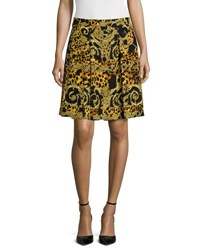 Versace Printed A Line Skirt Gold