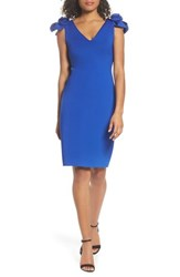 Eliza J Flower Detail Sheath Dress Cobalt