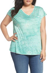 Sejour Plus Size Women's Stripe V Neck Pocket Tee