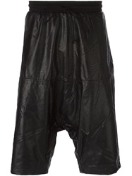Lost And Found Rooms Faux Leather Drop Crotch Shorts Black