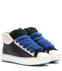 Fendi Shearling Trimmed Leather Sneakers Multicoloured