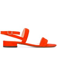 Tila March Amalfi Flat Sandals Women Leather Goat Suede 37 Red