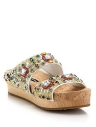 Alice Olivia Briana Wooden Platform Beaded Leather Slide Sandals White
