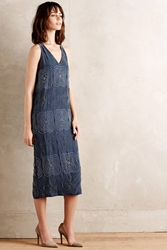 Burning Torch Beaded Silk Midi Dress Blue