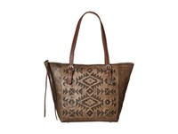 American West Mystic Shadow Bucket Tote Distressed Charcoal Brown Chestnut Brown Tote Handbags