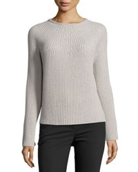 Helmut Lang Ribbed Wool Cashmere Bell Sleeve Sweater Gray