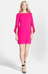 Women's Milly Butterfly Sleeve Stretch Silk Crepe Dress Fluo Pink