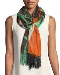 Dries Van Noten Dual Print Modal Silk Scarf With Fringe Green